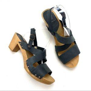 Sanita Wood Olympia Square Flex Leather Sandals
